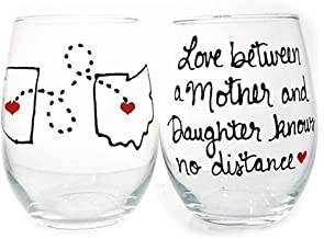 Gifts for Mom From Daughter, Love Between Mother and Daughter Knows no Distance, Mother Daughter Wine Glass, All States and Countries Available, 20 oz Stemmed or 21 oz Stemless