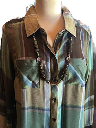 Custom Couture L khaki plaid blouse long with copper and n Discount Be super welcome is also underway