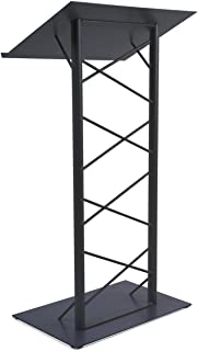 47-inch Truss Lectern with 7/8-Inch Lip, Free-Standing Podium with Lattice-Style Design, Steel - Black