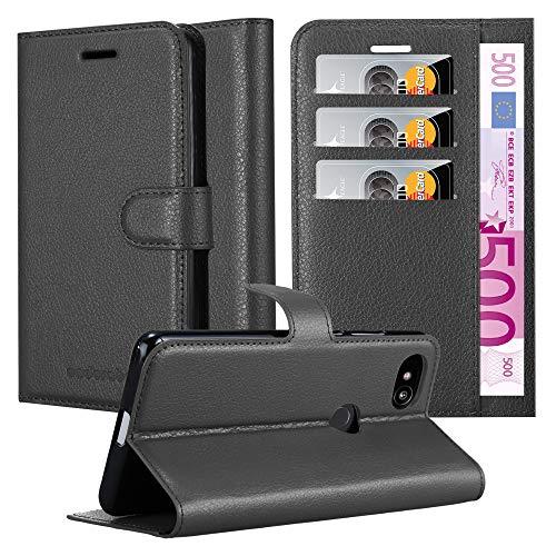 Cadorabo Hülle für Google Pixel 2 in Phantom SCHWARZ - Handyhülle mit Magnetverschluss, Standfunktion & Kartenfach - Hülle Cover Schutzhülle Etui Tasche Book Klapp Style