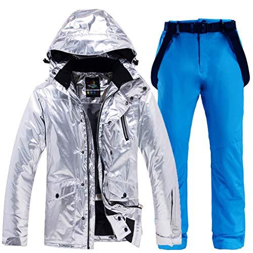 Skianzug 2 Stück Set für Damen und Herren Snowboard Skihose Jacke Wasserdicht Atmungsaktiv Winddicht Skijacke Ski Outfit Snowboard Schneeanzug Overall Sets Gr. L, blau (1)