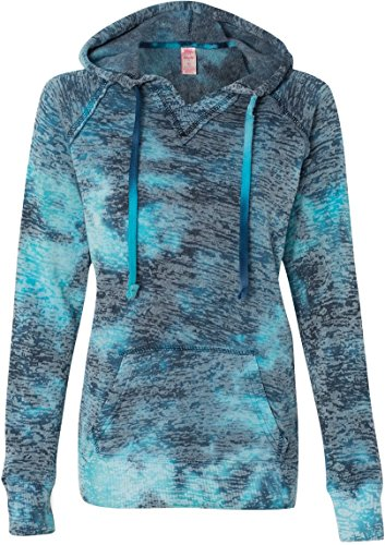 Weatherproof Ladies Burnout Hooded Pullover Fleece Burnout Hoodies Colorful Hoodies Medium Bahama Blueaa 1