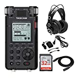Tascam DR-100MKIII 192kHz/24-Bit Stereo Portable Audio Recorder Bundle with A/C Adapter, XLR Cable, SD Card & Headphones (5 Items)