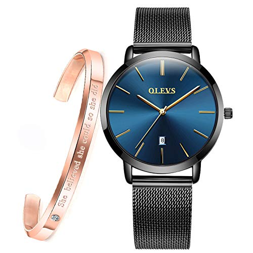 OLEVS Womens Watches Ultra Thin and Bracelet Gift Set Rose Gold for Ladies Female Navy Blue Big Face Minimalist Fashion Casual Slim Dress Date Analog Quartz Wristwatch Waterproof with Mesh Band Black