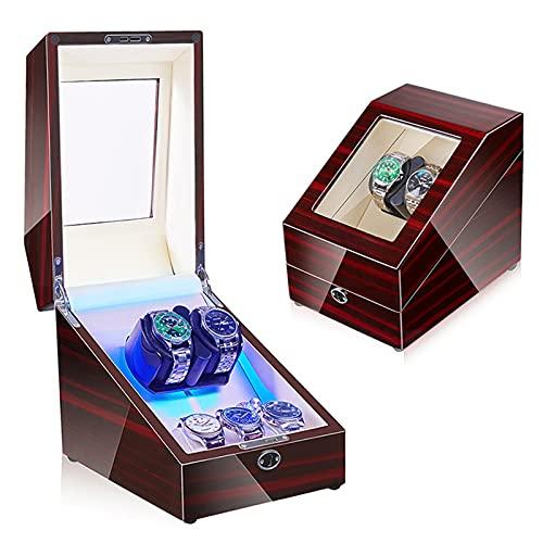 Enrollador De Reloj Automático 2 + 3 Caja De Exhibición De Almacenamiento con Retroiluminación Led Memoria Látex Reloj Almohada Motor Silencioso Ajuste Hombre Mujer Reloj De Pulsera,Leather 02
