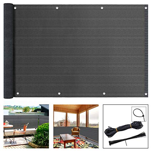 SEKKVY 3' x 16.4' Balcony Privacy Screen Cover, Windproof Sun Shade UV Protection Privacy Screen Balcony Fence Mesh Net for Patio, Fence, Backyard, Porch - Includes Rope, Zip Ties (3' x 16.4', Gray)