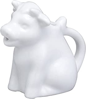 HIC Harold Import Co. NT1089 HIC Mini Cow Creamer Coffee Tea Milk Syrup Dressing Server with Handle, Fine White Porcelain, 2-Ounces