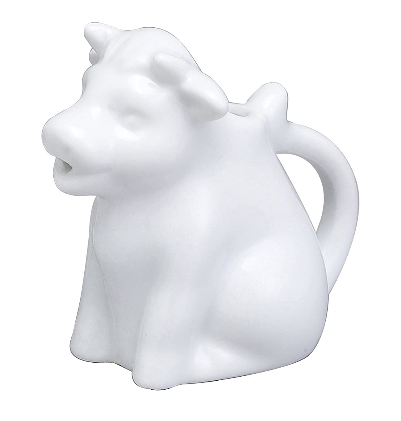 HIC Harold Import Co. NT1089 HIC Mini Cow Creamer Coffee Tea Milk Syrup Dressing Server with Handle, Fine White Porcelain, 2-Ounces,