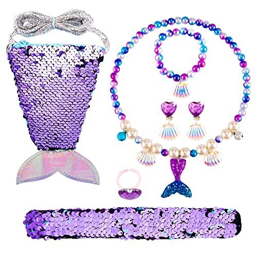 Meerjungfrau Kinderschmuck Spielzeug Set, Kleine Mädchen Schmucksets, 7 Pcs Meerjungfrau Handtasche Set mit Halskette Armbänder Ohrringe Ringe, Ankleiden Geschenke für 3+ Jahre Mädchen (lila)