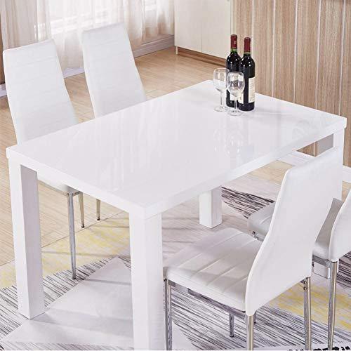 GOLDFAN Esstisch Weiß Küchentisch Wohnzimmertisch Moderner Quadratischen Tisch Hochglanz für Wohnzimmer Büro Küche 110cm(Nur Tisch)
