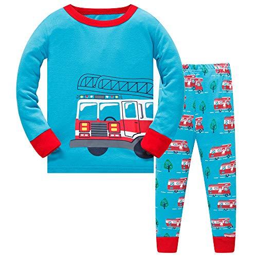 Pijama Niño Invierno-Pijama para Niños-Pijamas de Camión de Bomberos para Niños-Manga Larga Niño Ropa de algodón Traje Dos Set 7 Años