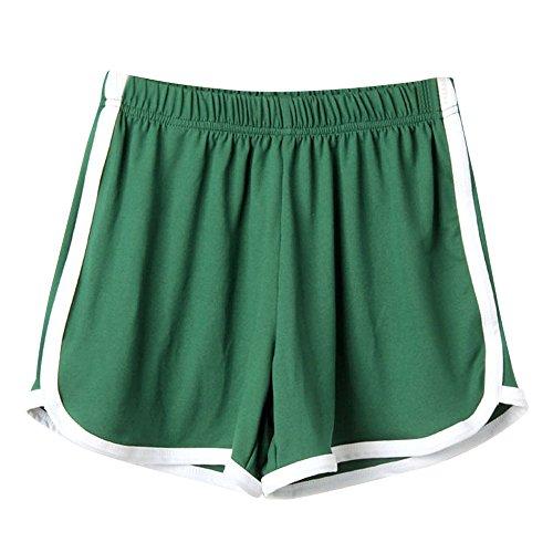 Andouy Damen Sport Shorts Kurze Yoga Hosen Aktiv Yoga Shorts Hose mit Farbig Abgesetzen Rändern(M.Grün)