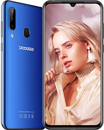 DOOGEE N20 Smartphone ohne Vertrag, 4G Dual SIM Android 9.0 Smartphone 6,3 Zoll Waterdrop Bildschirm 4350mAh Akku 10W Schnellladung Handy, 4GB RAM 64GB ROM, 16.0MP+ 8.0MP+8.0MP Kameras, Blau