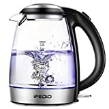 iFedio Electric Kettle 1.7L Cordless Glass Water Boiler with Auto Shut-Off Boil-Dry Protection LED Indicator Light Electric Teapot for Water Tea Coffee