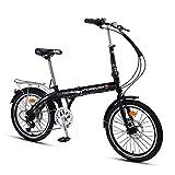 MTTKTTBD Adulto Folding Bike con Doble Freno de Disco,Ligera Bicicleta Plegable,First Class Urbana Bicic Plegable,7 Velocidades Suspensión Completa Premium Shimano,20 Pulgadas Rueda