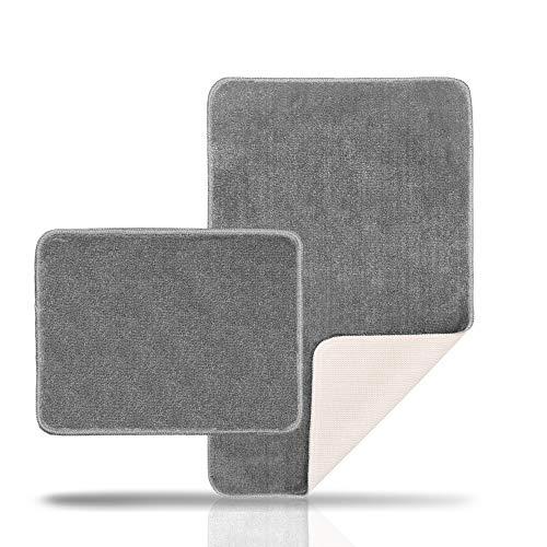 Sentidos Premium Badematte - rutschfest Dank Natur Latex - Eleganter 2 Teiliger Badezimmerteppich - Garantiert Schadstofffreier Badteppich - Badematte Grau (2 teilig Set 50X80 cm und 40X50 cm)