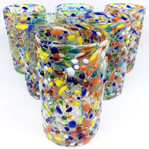 MexHandcraft Multicolor 'Confetti Rocks' 14 oz drinking glasses (set of 6)