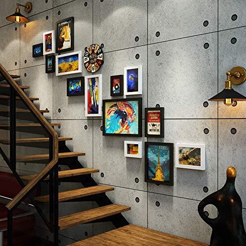 LKOER Escalera Foto de Pared Industrial Estilo Combinación 14 Marco de Fotos Retro Cambiable Foto Decorativa Reloj Decorativo (Color: Bl jinyang (Color : Black and White)