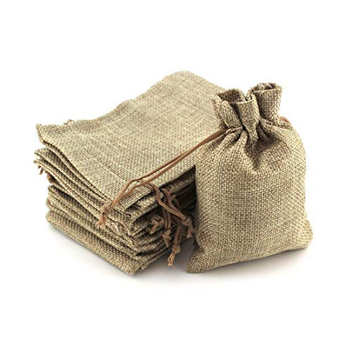 APLORTI Bolsitas-Sacos de Yute para Regalo, Joyeria, Fiesta o Boda. Incluye 24 Piezas. con cordón. Bolsa para Regalo.