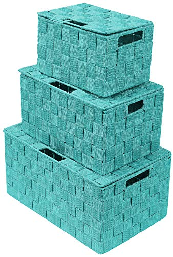 Sorbus Storage Box Woven Basket Bin Container Tote Cube Organizer Set Stackable Storage Basket Woven Strap Shelf Organizer Built-in Carry Handles (Lid Bins - 3 Pack, Aqua)