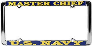 Honor Country US Navy Master Chief License Plate Frame, Thin Rim