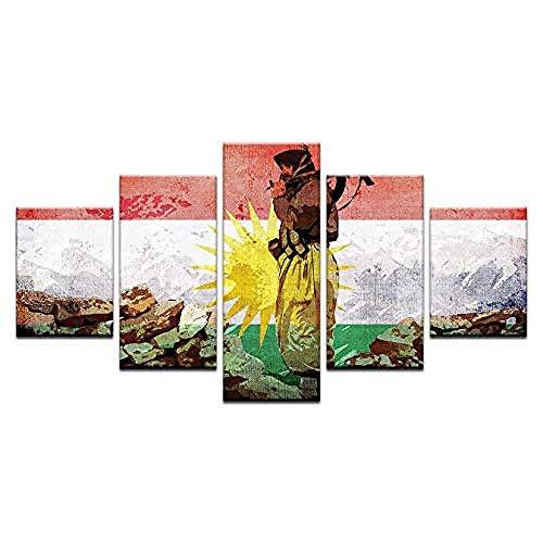 JYCXOZ Kurdistan Soldat Flagge HD Print Gemälde Poster Leinwand Malerei 5 Stück Modural Art Picture Home Decoration