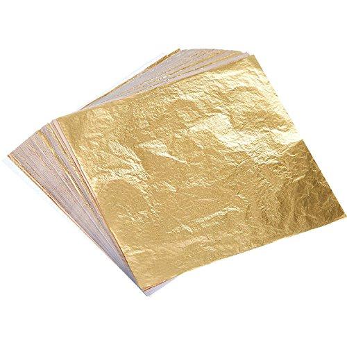 Dimensione: dimensione di ogni foglia di circa 5.5 pollici x 5.5 pollici (14 x 14 cm); Colore: oro; Quantità: 100 fogli Pacchetto: queste foglie d'oro sono allentate a foglia, ogni foglio è racchiuso tra i fogli di carta tessuto-come, si può sollevar...