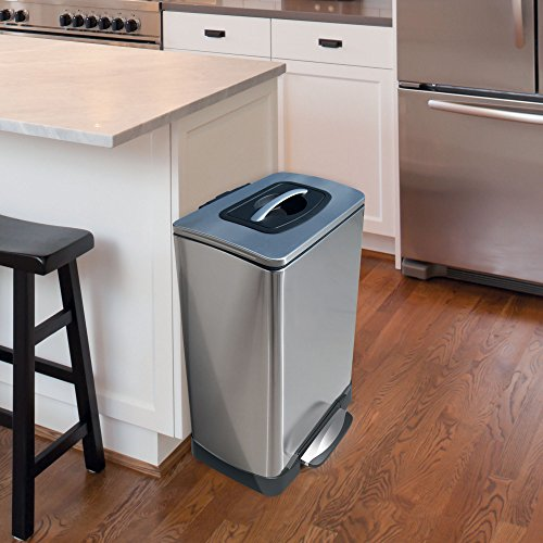 Household Essentials Trash Krusher Manual Trash Compactor, 40 L, Stainless Steel