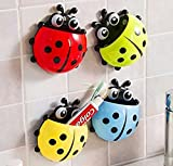 Bestga Cute Cartoon Ladybug Kids Wall Suction Cup Mount Toothbrush Holder Pencil and Pen Container Box Travel Organizer Plastic Pocket Storage Organizer - Blue by Bestga
