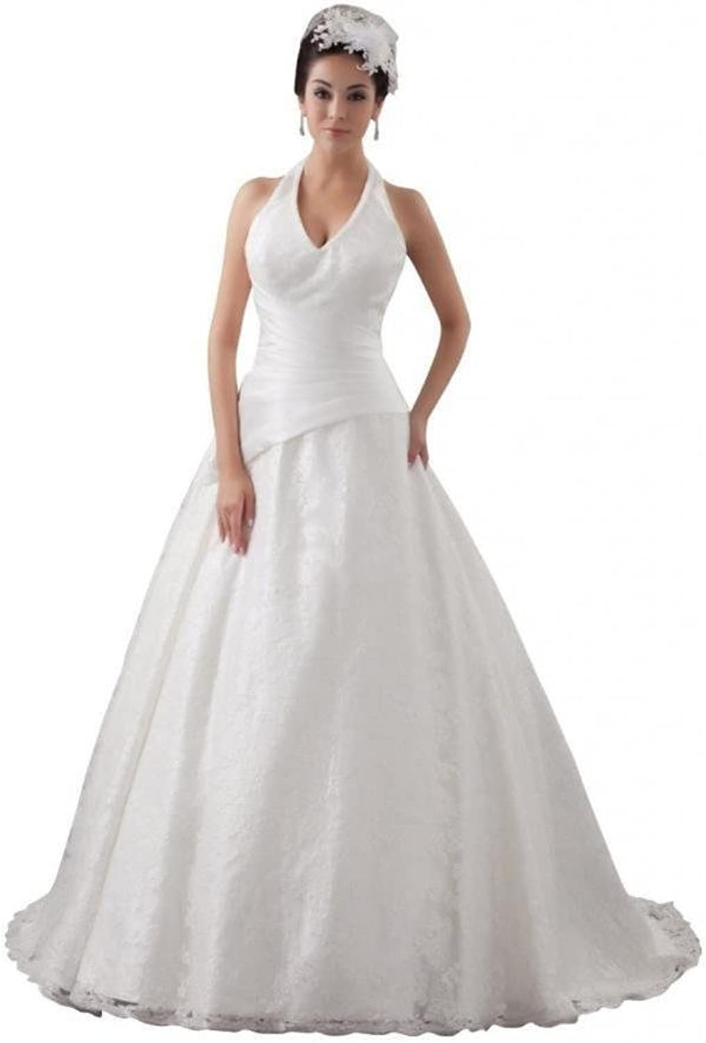 Dearta Women's ALine Halterneck Court Train Lace Wedding Dresses