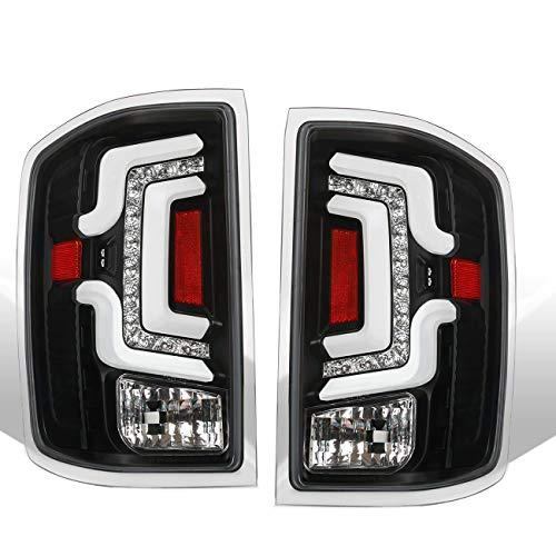 Fit 2014-2018 Chevy Silverado 1500/2015-2018 Silverado 2500HD 3500HD Tube Red Streak Led Tail Lights Black Housing/Clear Lens