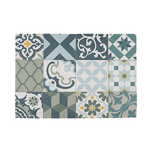 Nostalgic Crossweave Woven Placemats for Dining Room Kitchen Table Decor, Set of 4, Vintage Tiles