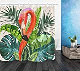 LB Grün Blätter Duschvorhang Antischimmel Wasserdicht Polyester Badezimmer Gardinen Tropisch Pflanzen Flamingo Bad Vorhang mit Haken,150x180cm