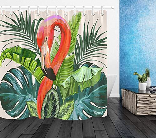 LB Foresta Tropicale Tende da Doccia 150X180CM Fenicottero Foglie di Banana Verde Tende da Bagno con Ganci Impermeabile Antimuffa Poliestere Casa Decorazione