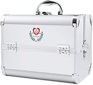 Multi-Layer Medicine Chest Multi-Function Large-Capacity Medical Box Portable First-aid Box Aluminum Alloy Storage Box AMINIY (Color : Silver, Size : 240×170×176mm)