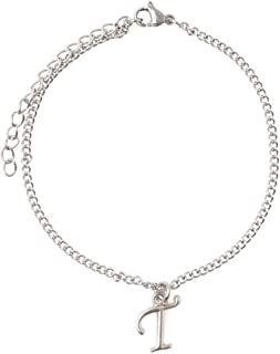 """7.5"""" - 9.5"""" Stainless Steel Ankle Bracelet with Alloy Initial 26 Letter Options A-Z Curb Chain."""