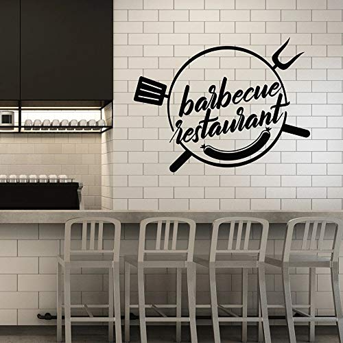 Calcomanía de vinilo para pared grill restaurante grill bar kebab salchicha restaurante decoración de interiores pegatina de ventana arte palabra mural