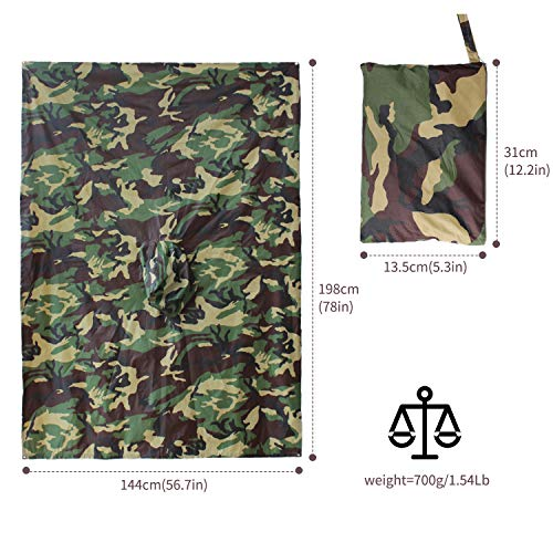ElifeAcc Multifunctional Rain Cape Hooded Poncho - Waterproof Raincoat,Tent Ground Sheet Mat,Sunshade Tarp,Perfect for Outdoor Activities(Camouflage2)