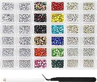 Outuxed 10080個 ホットフィックス ラインストーン フラットバック ラウンドクリスタルガラス宝石セット クリアクリスタルとクリアABサイズ 12ミックスカラー 3~4mm DIYクラフト用 マルチカラーラインストーン用