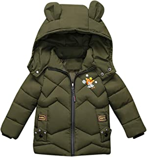 Geetobby Kids Boys Girls Cotton Coat Bear Print Thick Hooded Zip Jacket Clothes