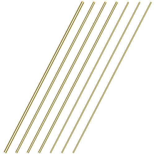 Sutemribor Brass Solid Round Rod Lathe Bar Stock, Diameter 1/8 Inch+3/16 Inch+1/4 Inch, Length 14 Inches, Total 7 PCS