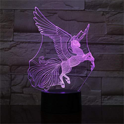 Nachtlicht Pegasus Kinder Nachtlicht 3D Optische Täuschung 7 Farben Ändern Beleuchtung Geburtstag Weihnachten Erstaunliche Geschenke für Baby Kinder Mädchen