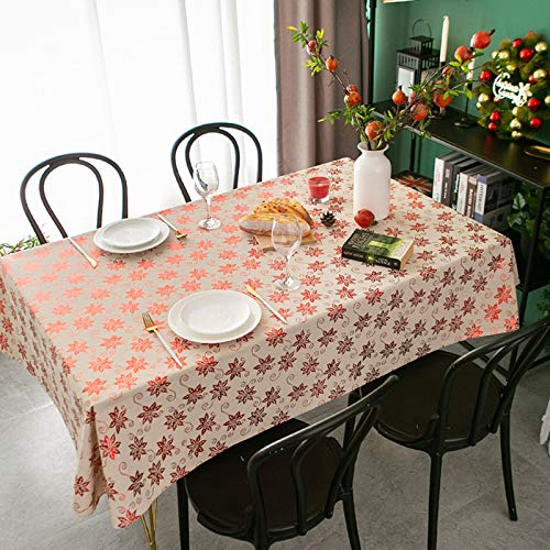 HTUO Tablecloth Home Kitchen Decoration Christmas Table Cover Dining Christmas Party Waterproof Oil Proof Thicken Table Cloth Living Room Outdoor Wedding Banquet 140 * 160cm
