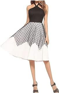 2019 Lace Stitching Sexy Women's Halter Hanging Neck Ladies Dress Vintage lace Wave mesh Dress