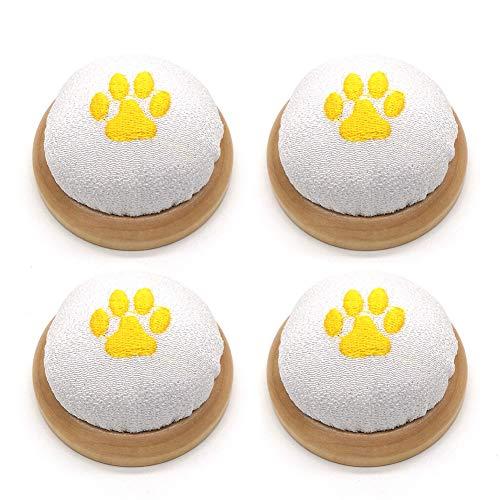GCWA Naaldkussens, antislip, beweegbare pompoenvorm, zachte bal, naaisteken pads met houten sokkel, voor unisex DIY handgereedschap, kruis steek-veiligheidsaccessoires, 4 stuks