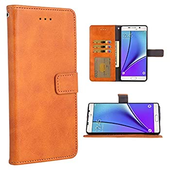 Phone Case for Samsung Galaxy Note 5 Folio Flip Wallet Case,PU Leather Credit Card Holder Slots Heavy Duty Full Body Protection Kickstand Protective Phone Cover for Glaxay Not Note5 Brown