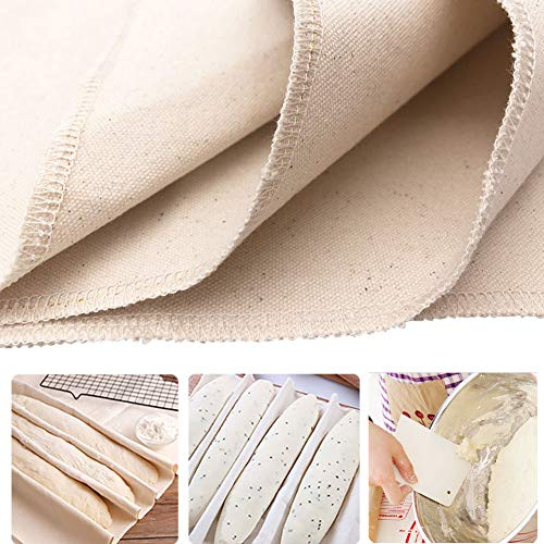 Dupung Large Professional Bakers Dough Couche Proofing Cloth Natural Super Thick Cotton Canvas for Baking French Bread 35.5' X 26'