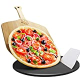 AILUROPODA0 13' Round Ceramic Glazed Cordierite Pizza Stone Black Pizza Grilling Stone for Oven, Gas Grill, Oven Baking and BBQ, Pizza & Bread Baking Stones with Bamboo Pizza Peel and Scraper