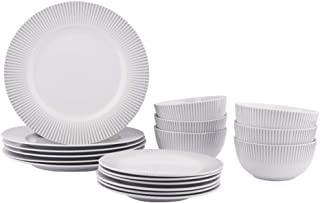AmazonBasics 18-Piece Kitchen Dinnerware Set, Dishes, Bowls, Service for 6, Spotlight