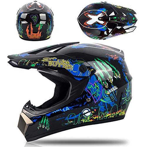 Casco da moto professionale da motocross, include occhiali, guanti e mascherina, per bambini e adulti, per moto, quad, fuoristrada, mountain bike, unisex, integrale, certificato ECE 22-05